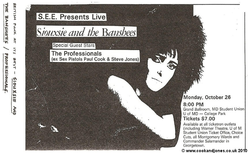 Professionals and Siouxsie October 1981
